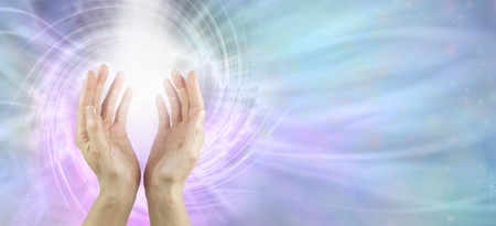 Photo for Channeling Vortex healing energy  - female hands reaching up with white vortex energy formation and pink blue ethereal energy field  background - Royalty Free Image
