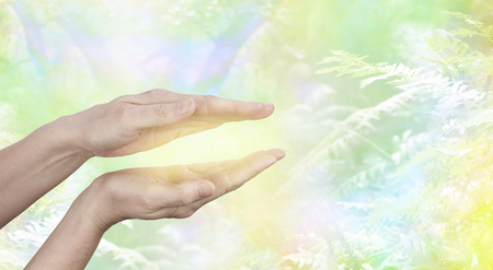 Foto de Qi Gong  healing Energy - female hands held in parallel position with a golden glow between with a yellow green ethereal woodland background and copy space - Imagen libre de derechos