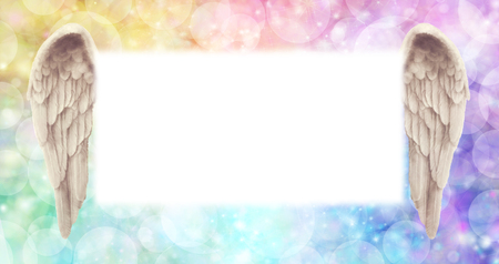 Photo for Rainbow Angel Wings Message Board   -   wide  ethereal rainbow colored bokeh effect background with a large misty white central message board area  flanked by a pair of Angel wings - Royalty Free Image