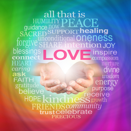 Foto de Love Heals Word Cloud -  Healer's hands cupped with a LOVE word cloud surrounding on a rainbow coloured spiraling background - Imagen libre de derechos