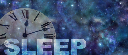 Foto de Time to get treatment for your sleep problem  - dark night sky background with a semi transparent roman numerals clock showing past midnight and the work SLEEP beneath with copy space - Imagen libre de derechos