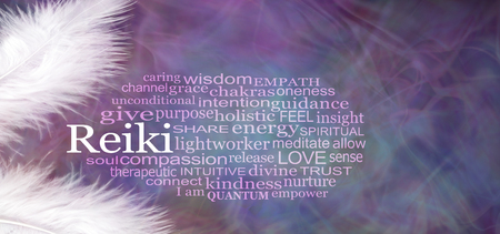 Photo for Angelic REIKI Word Cloud Rustic Banner - Royalty Free Image