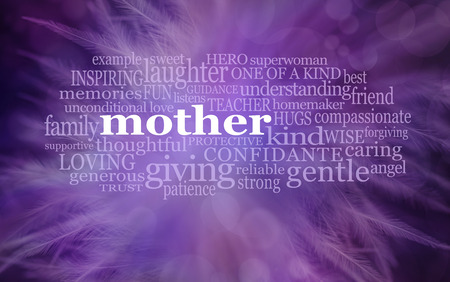 Mothering Sunday Word Cloud  background banner   -  purple feathery background with the word MOTHER surrounded by a relevant word cloud and copy space below