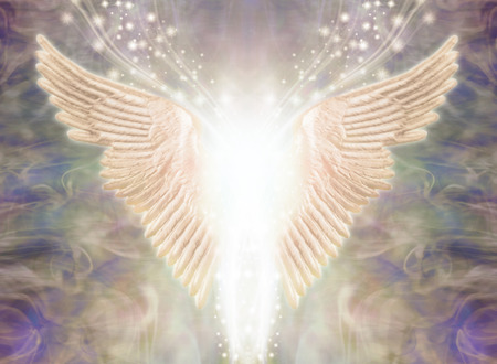 Photo for Angelic Light Being - Pair of Angel Wings with bright white light between and a stream of glittering sparkles flowing upwards against an ethereal gaseous energy formation background - Royalty Free Image