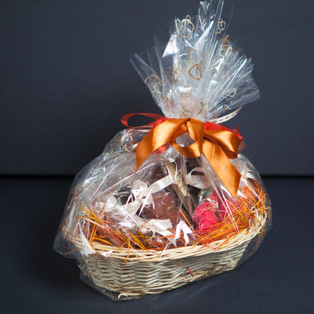 Photo for gift basket against grey background - Royalty Free Image