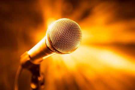 Photo for golden microphone on stage - Royalty Free Image
