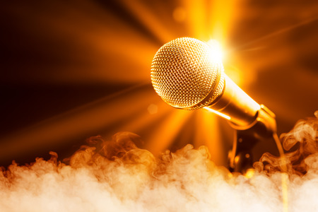 Photo for golden microphone on stage with smoke - Royalty Free Image