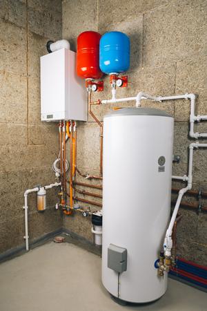 Foto de independent heating system in boiler-room - Imagen libre de derechos