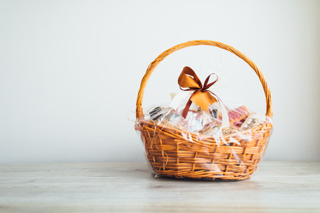 Photo pour gift basket on grey background - image libre de droit