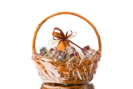 Foto de gift basket on white background - Imagen libre de derechos