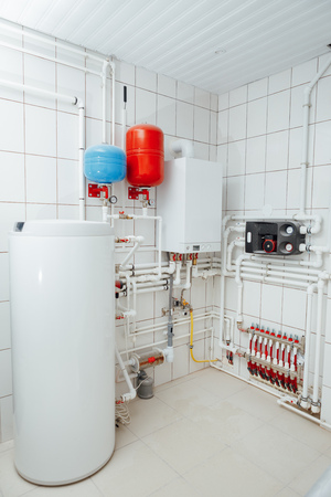 Photo pour modern independent heating system in boiler room - image libre de droit