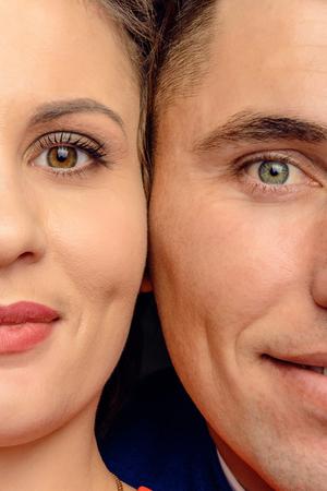 Foto de Close-up face of a serious young couple 2018 - Imagen libre de derechos