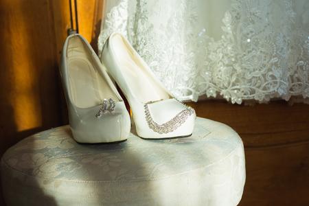 Foto de White shoe of the Bride . wedding theme background 2019 - Imagen libre de derechos