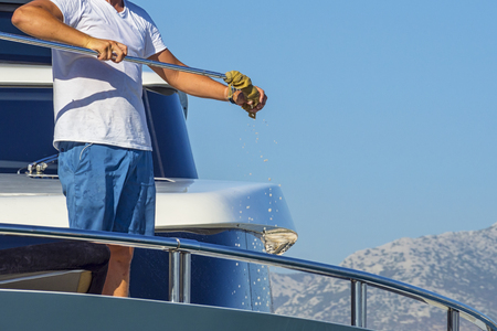 Photo for Cleaning yacht - Royalty Free Image