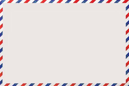 Foto de Old post striped envelope, background with copy space. White mail letter with stripped vintage pattern. Empty blank. - Imagen libre de derechos