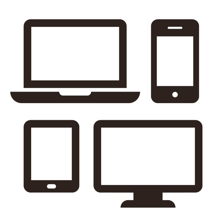 Illustration pour Laptop, mobile phone, tablet and monitor icon set isolated on white background - image libre de droit