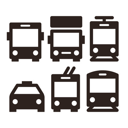 Foto de Public transport icons - bus, truck, streetcar, taxi, trolley bus and train - Imagen libre de derechos