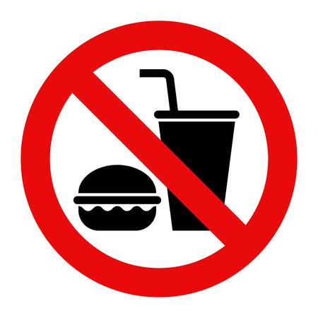 Ilustración de No food and. no drinks allowed. Isolated on white background. - Imagen libre de derechos