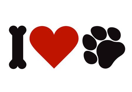 Ilustración de I love pets symbol isolated on white background - Imagen libre de derechos