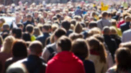 Foto de Crowd of people at the street, city center - Imagen libre de derechos