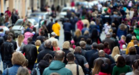Photo pour Crowd of people at the street, city center - image libre de droit