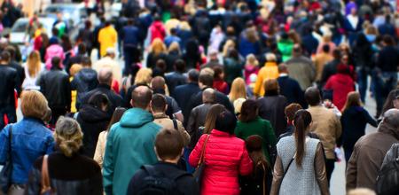 Photo pour Crowd of people at the street city center - image libre de droit