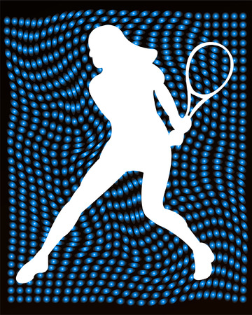 tennis player silhouette on the abstract background - vector