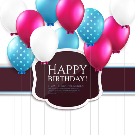 Illustration pour Birthday card with balloons and birthday text. - image libre de droit