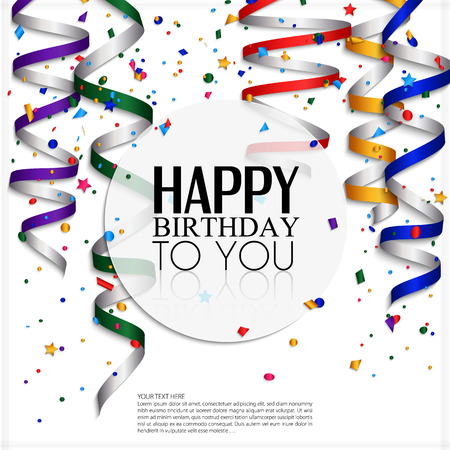 Illustration pour Birthday card with curling stream, confetti and birthday text  - image libre de droit