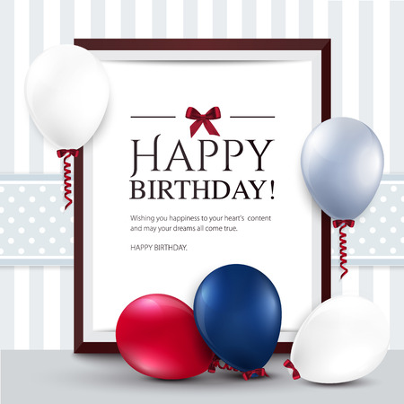 Illustration pour Vector birthday card with balloons and frame  - image libre de droit