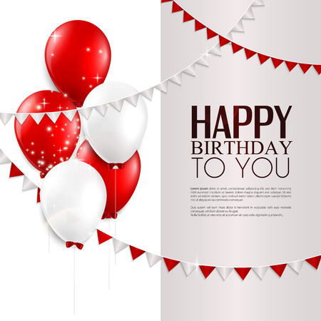 Illustration pour Vector birthday card with balloons, and birthday text  - image libre de droit