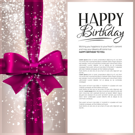 Illustration pour Vector birthday card with pink ribbon and birthday text. - image libre de droit