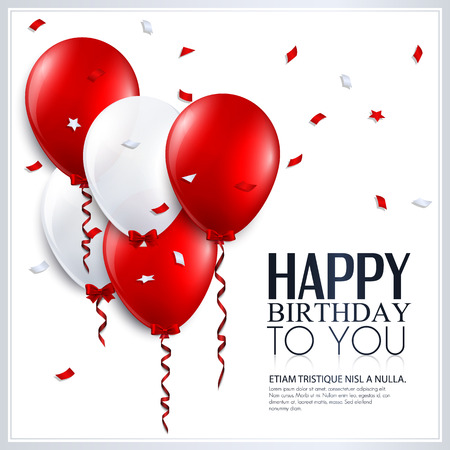 Illustration pour Vector birthday card with balloons and confetti  - image libre de droit