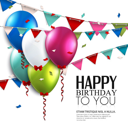 Illustration for Vector birthday card with balloons and bunting flags  - Royalty Free Image