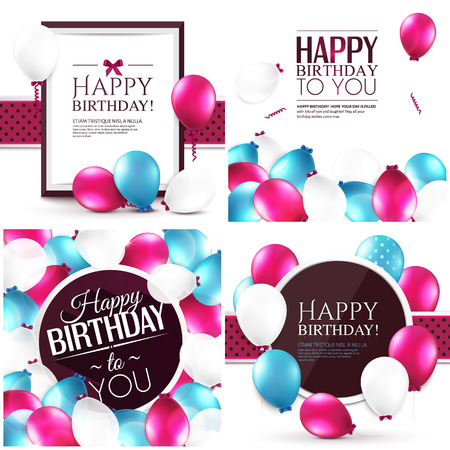 Illustration for Vector illustrations. Set of colorful birthday cards. - Royalty Free Image