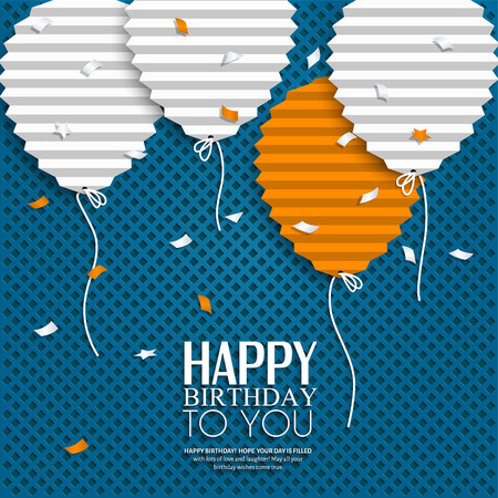 Ilustración de Birthday card with balloons in the style of flat folded paper. - Imagen libre de derechos