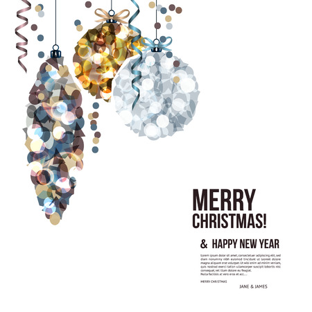 Ilustración de Christmas card with balls composed of shards. - Imagen libre de derechos