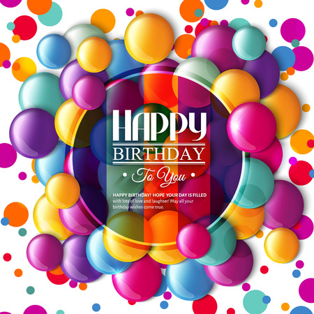 Illustration pour Birthday card with multicolored candy and text. - image libre de droit