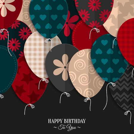 Illustration pour Vector birthday card with paper balloons and birthday text. - image libre de droit