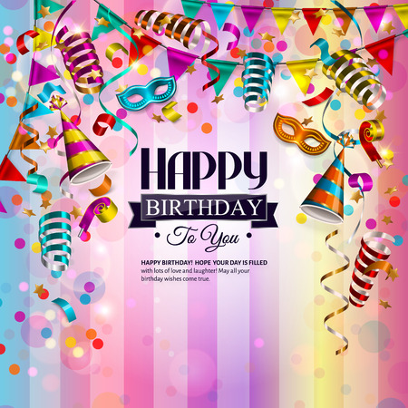 Illustration pour birthday card with colorful curling ribbons, birthday mask, hat and confetti. - image libre de droit