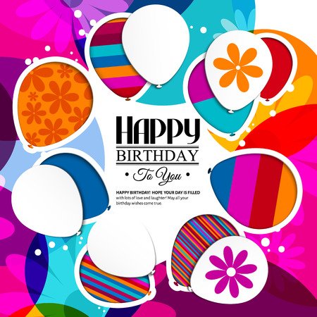 Illustration pour Vector birthday card with paper balloons in the style of cutouts on colorful background. - image libre de droit