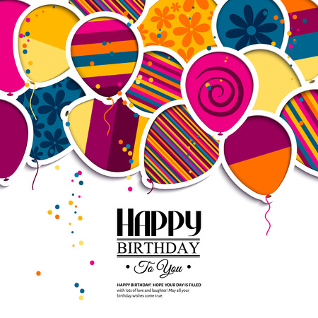 Ilustración de Vector birthday card with paper balloons in the style of cutouts. - Imagen libre de derechos
