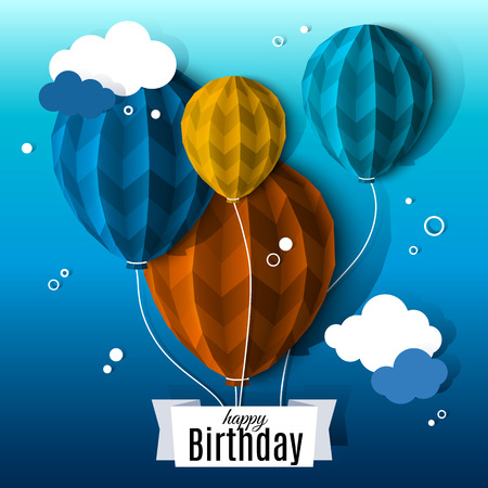 Illustration pour Birthday card with balloons in the style of flat folded paper. - image libre de droit