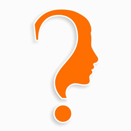 Ilustración de Human face with question mark. Education and innovation concept. - Imagen libre de derechos