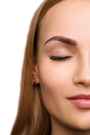 Photo pour Permanent make up on eyebrows. - image libre de droit