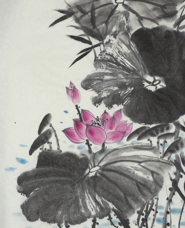 Photo for bright lotus flower painted in Chinese style - Royalty Free Image