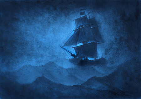 Photo for lonely sailing ship in a storm - Royalty Free Image