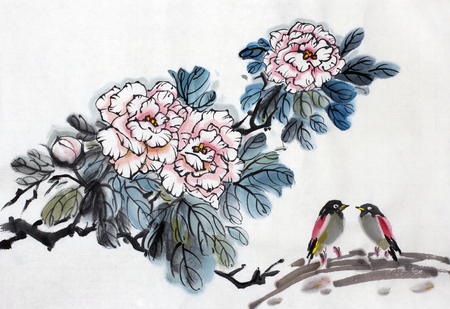 Photo pour  bush of pink roses and two small birds - image libre de droit
