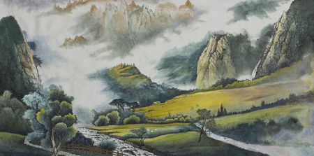 Photo pour mountain landscape with a river and fields painted in Chinese style - image libre de droit