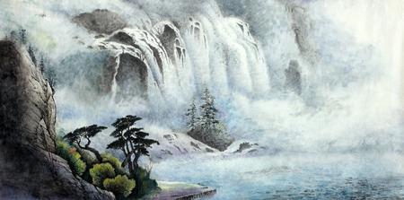 Foto de mountain landscape with a waterfall and trees - Imagen libre de derechos